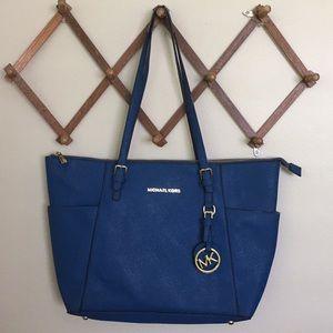MICHAEL KORS Saffiano Leather Tote Bag Lux Blue Lg